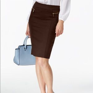 MK Burgundy Pencil Zipper Skirt